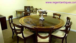 03137 Vintage English Inlaid Dining Table 6ft Round Mahogany
