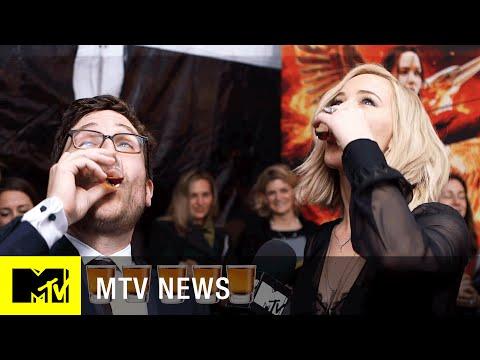 Watch Jennifer Lawrence Do Shots at the 'Mockingjay' NYC Premiere | MTV News