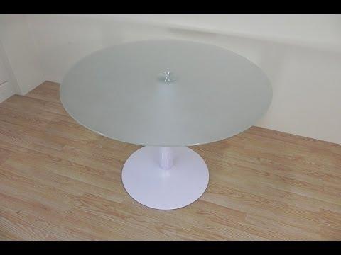 Mesa de comedor o cocina redonda, de cristal translucido blanco de ...