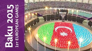 Baku 2015 European Games Opening Ceremony highlights | Baku 2015(Relive all the magic of the Baku 2015 Opening Ceremony, featuring Lady Gaga and a cast of thousands and watched live all around the world., 2015-06-12T19:42:56.000Z)