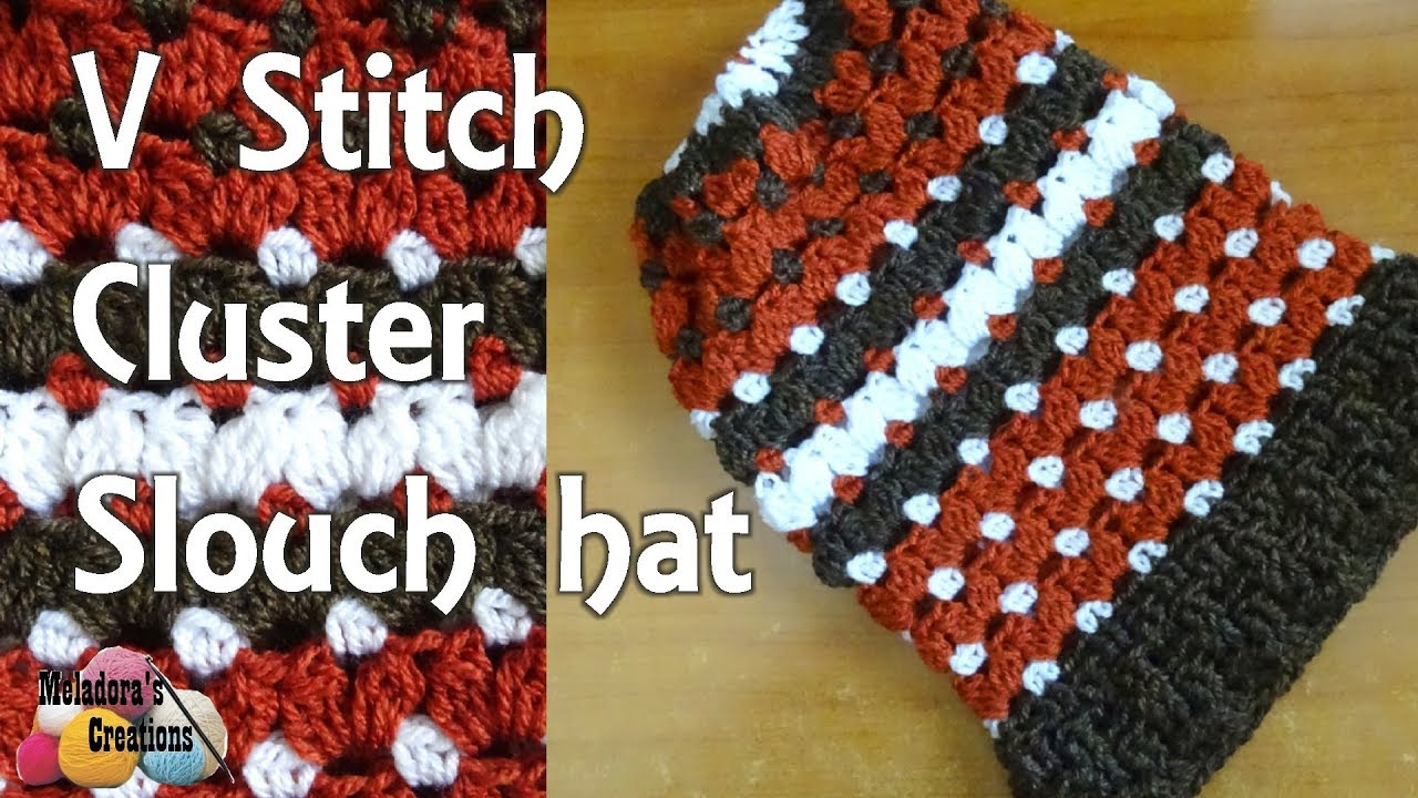 Crochet V Stitch Cluster Slouch Hat - Right Handed Crochet Tutorial ... bfb412384e7