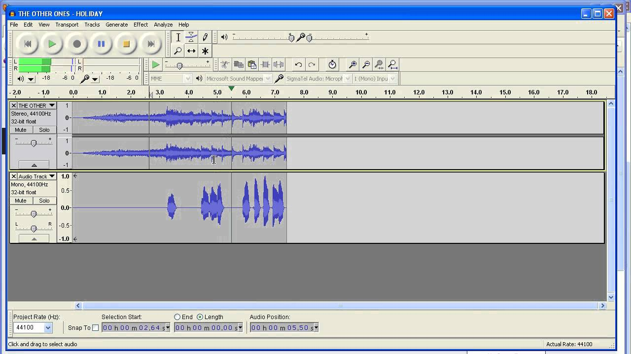 how to select only one track in audacity