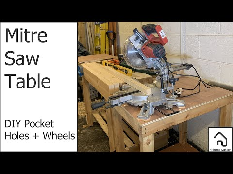 Simple, Basic Mitre Saw Station, With DIY Pocket Holes & Cheap Wheels