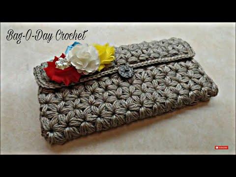 CROCHET How To #Crochet Puffed Star Stitch Clutch Wallet Purse #TUTORIAL #304 LEARN CROCHET