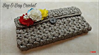 Repeat youtube video CROCHET How To #Crochet Puffed Star Stitch Clutch Wallet Purse #TUTORIAL #304 LEARN CROCHET