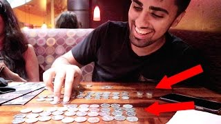 PAYING IN COINS AT A LUXURY RESTAURANT !!!