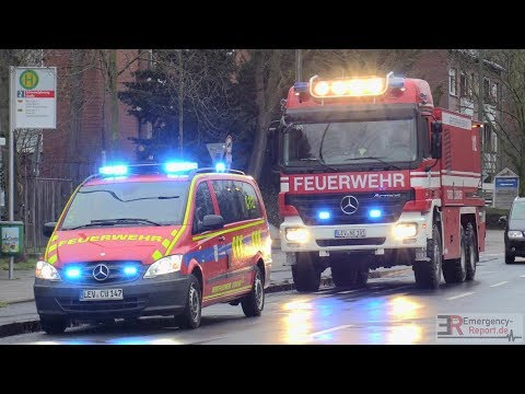 [GROSSEINSATZ FEUERWEHR DÜSSELDORF] - Öltank brannte in Halle   Einsatzfahrten   Turbolöscher -