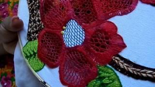 Bordado de cesta com flores parte 4