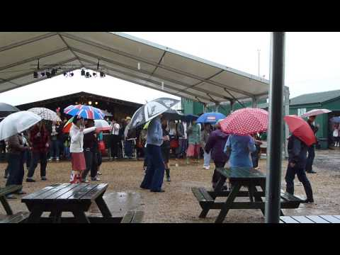 Dancing in the Rain to the Firebirds at the Twinwood Festival (UK) 2014