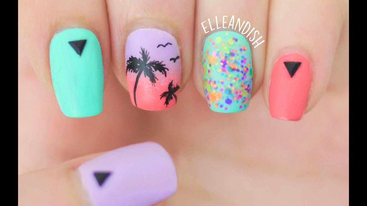 Matte Palm Tree Nails - YouTube