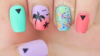 Matte Palm Tree Nails