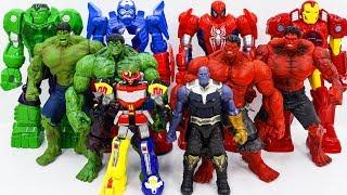 Marvel Super Hero HULK, RED HULK vs HULK Army Of THANOS~ GO GO!!! ZORD POWER RANGERS Show Up Rescue