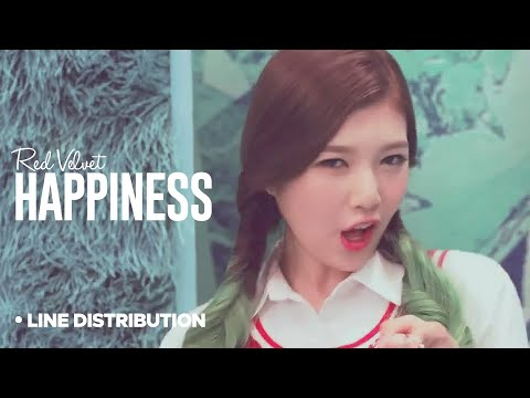 Red Velvet - Happiness: Line Distribution (Color Coded Bars)