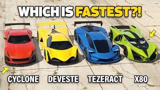 GTA 5 ONLINE - DEVESTE EIGHT VS X80 PROTO VS TEZERACT VS CYCLONE (WHICH IS FASTEST?)