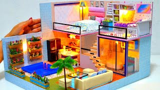 DIY Miniature Cardboard Box Dollhouse # 4 - Dreamhouse mansion with real swimming pool, 2 bedrooms
