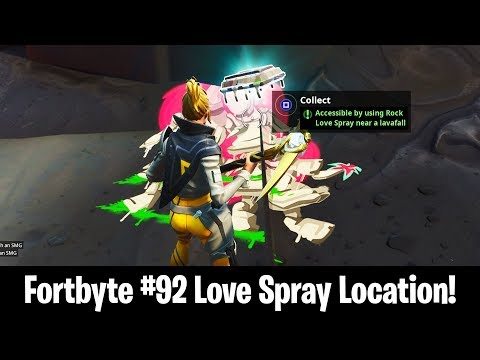 New Fortbyte #92 Location in Fortnite! Rock Love Spray Near Lavafall Fortbyte Location! (Fortbyte)