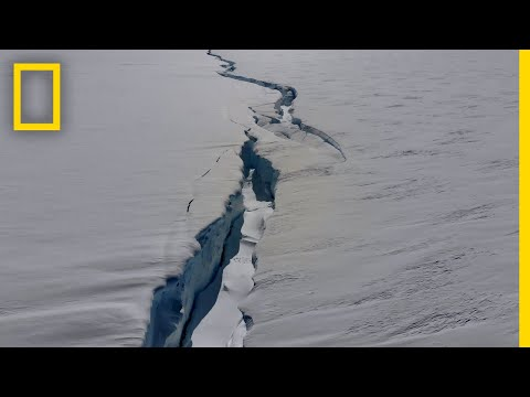 Crack Splitting an Antarctic Ice Shelf In Two | National Geographic