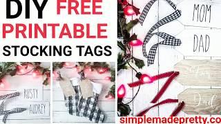 DIY Stocking Tags Free Printable - Stocking Tags, Stocking Tags DIY, StockingTags Wood