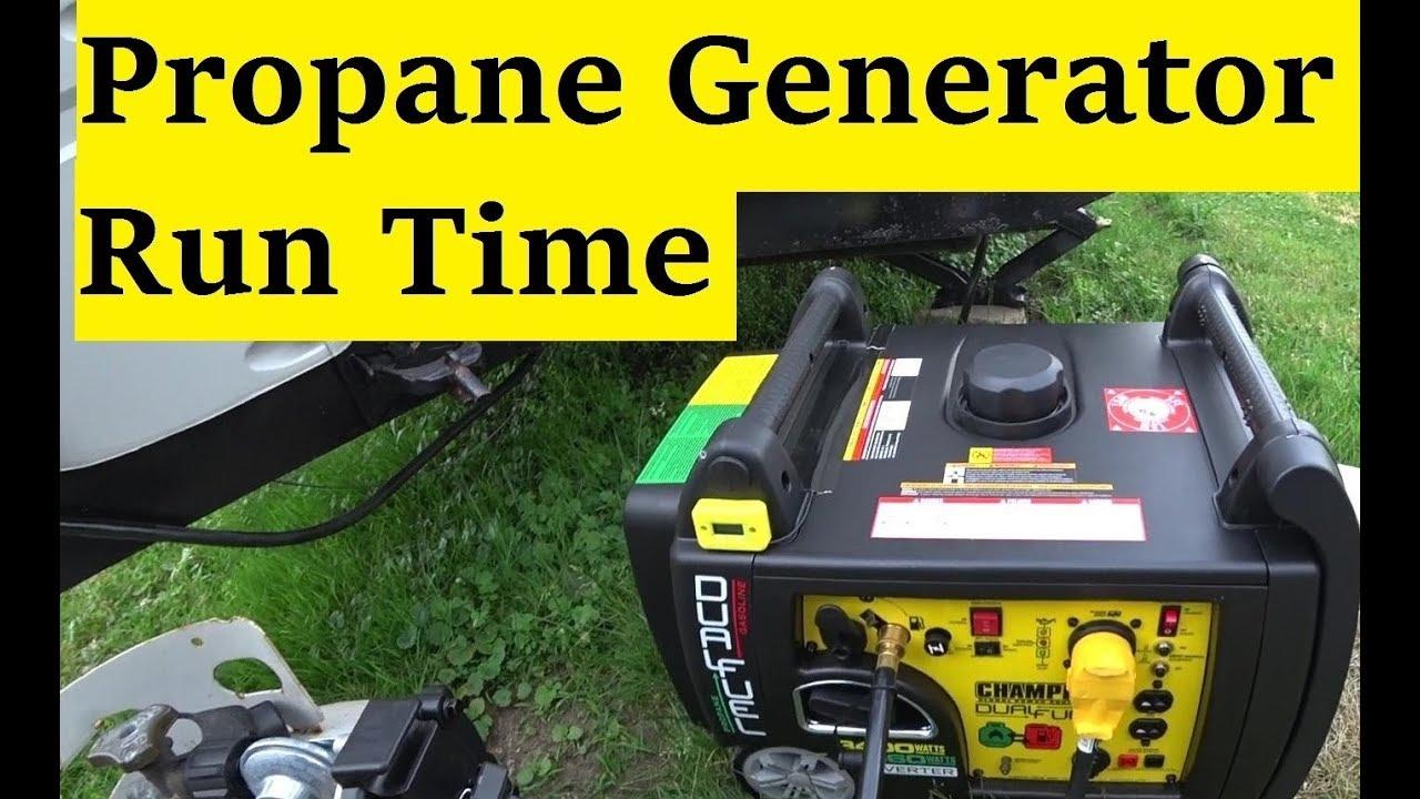 champion 100263 propane generator run time test youtube