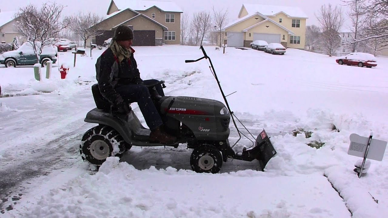 Snow Blower 24 >> Craftsman LT2000 with snow blade - YouTube