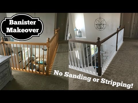Oak Banister Makeover Gel Stain With No Stripping Youtube   Oak Handrail White Spindles   Stair Square Spindle   Staircase   Switchback Stair   Goes Golden Oak Staircase   Replacement