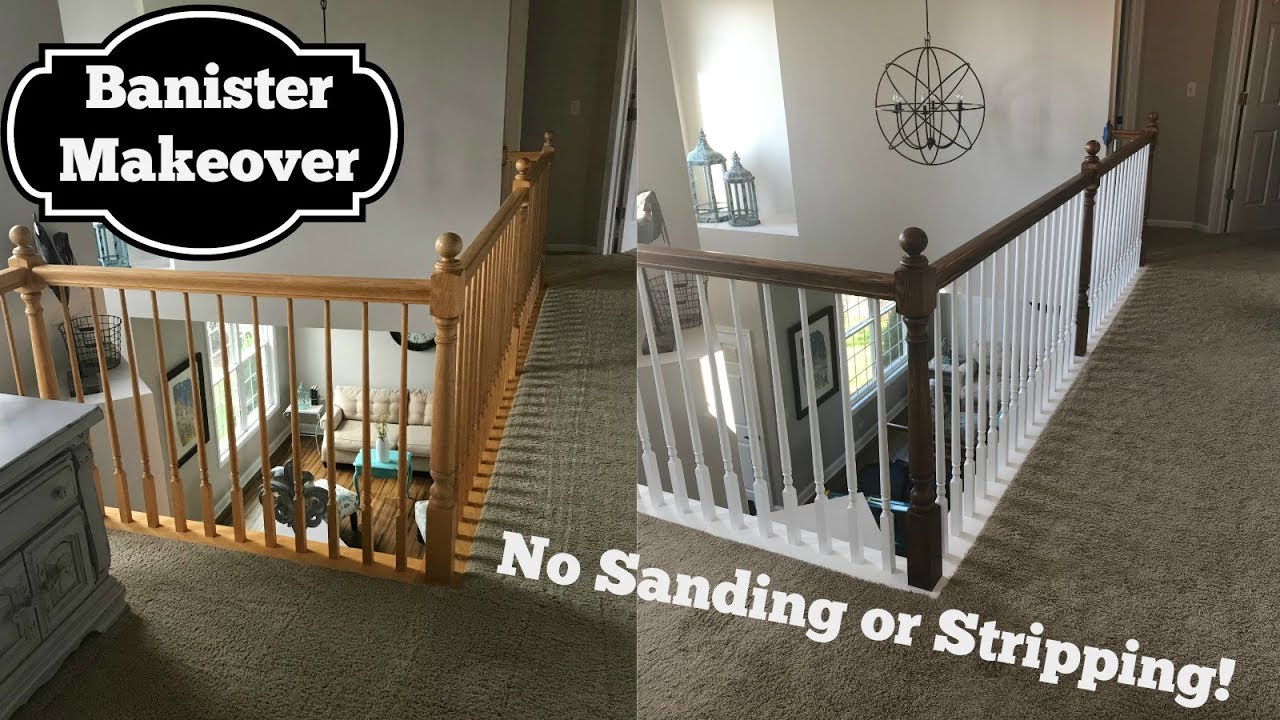 Oak Banister Makeover Gel Stain With No Stripping Youtube