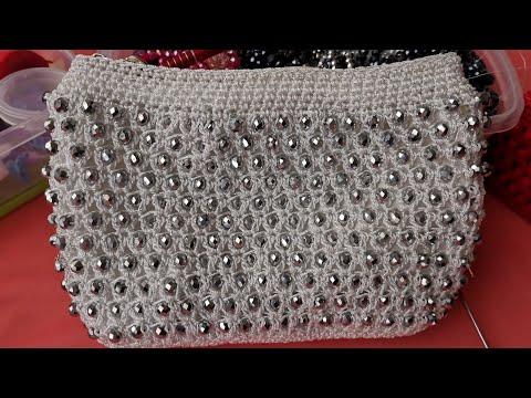 Bolso Tejido a Crochet Con Cristales