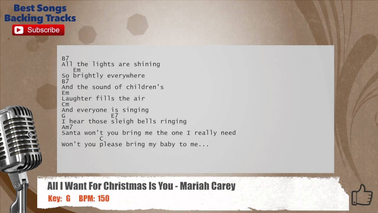 all i want for christmas is you mariah carey vocal backing track with chords and lyrics - All I Want For Christmas Is You Mariah Carey Lyrics