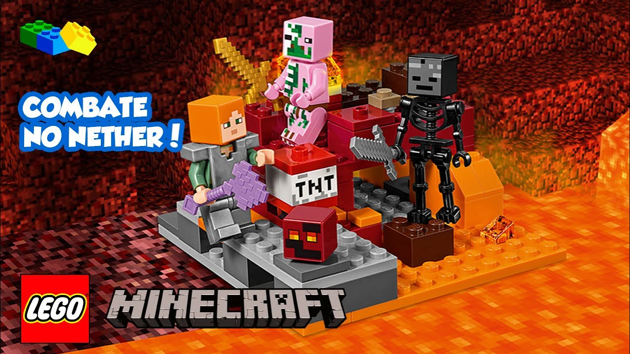 496f7f173552 LEGO MINECRAFT - Combate no Nether - 21139 - Unboxing & Review BR ...