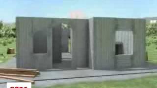 Технология строительства из несъемной опалубки СОТА(Технология строительства дома из несъемной опалубки армированной панели СОТА. Утеплитель расположен сред..., 2009-06-26T16:43:25.000Z)