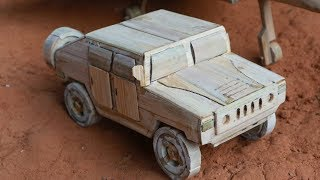 How to make a Miniature Hummer Military Car from bamboo.