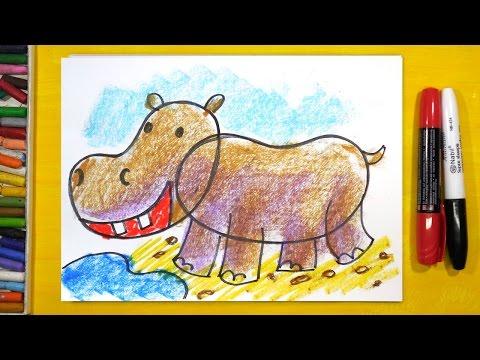 Как рисовать бегемота для детей