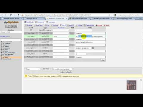 Change wordpress Admin/User password by phpMyAdmin or SQL Querry