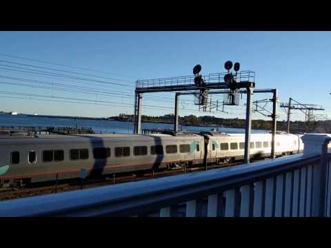 Amtrak Train Passing Through New London, Connecticut