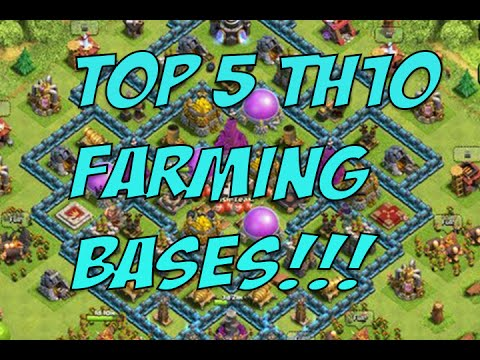Clash of Clans - Top 5 TH10 Farming Bases! 4th Mortar Designs!