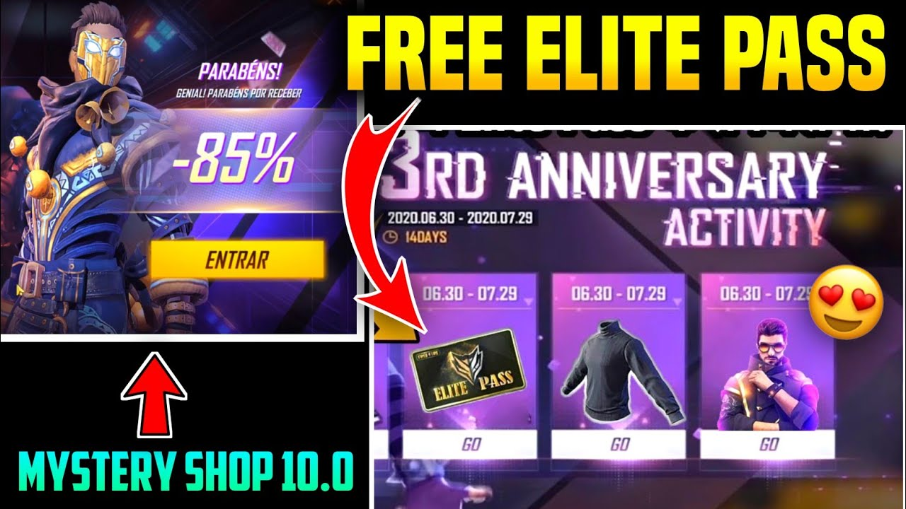 FREE ELITE PASS IN FREE FIRE 3rd ANNIVERSARY EVENT FULL DETAILS || NEW MYSTERY SHOP 10.0 FULL REVIEW