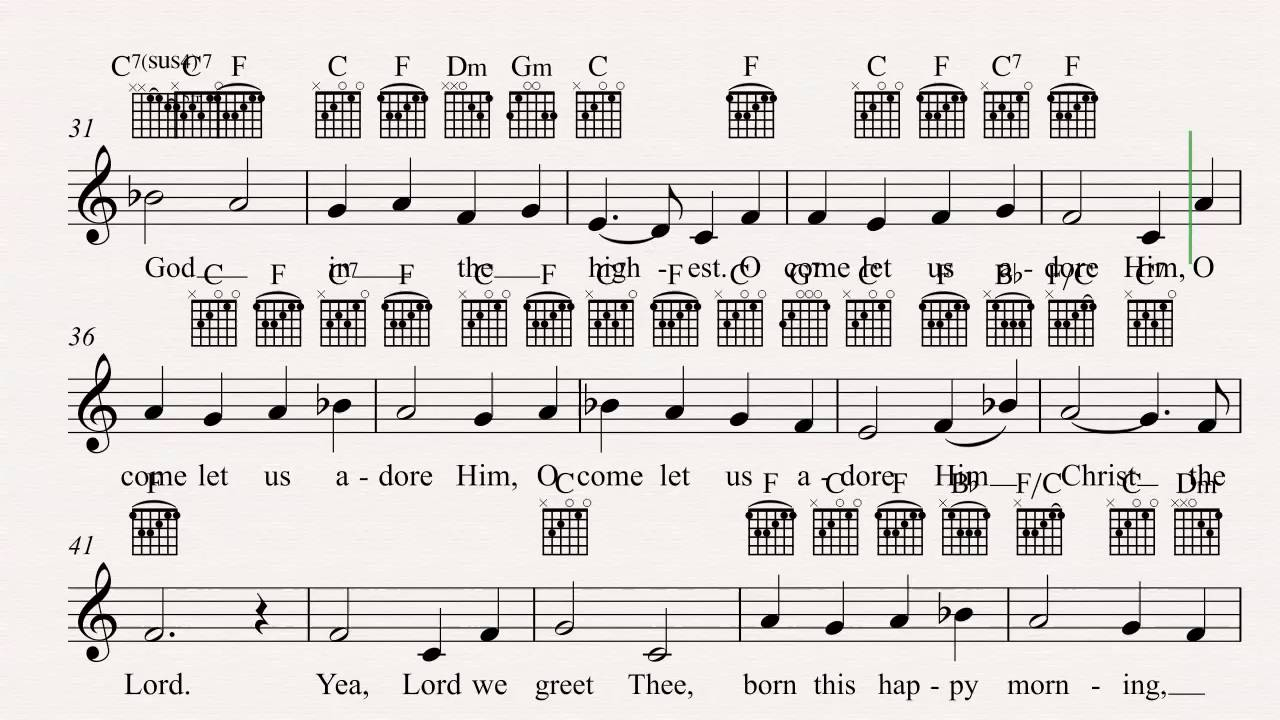Guitar O Come All Ye Faithful Christmas Carol Sheet Music