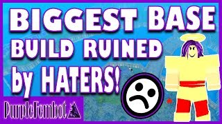 Building largest Mag Base RUINED by HATERS! (Roblox Booga Booga) PurpleFemBot