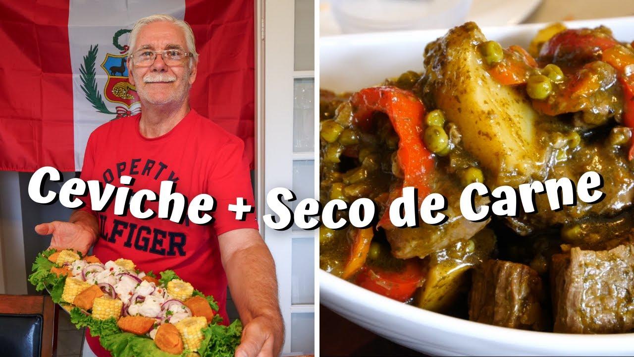 Cocinando COMIDA PERUANA 🇵🇪   Seco de CARNE + CEVICHE de Bacalao para el 28 de Julio