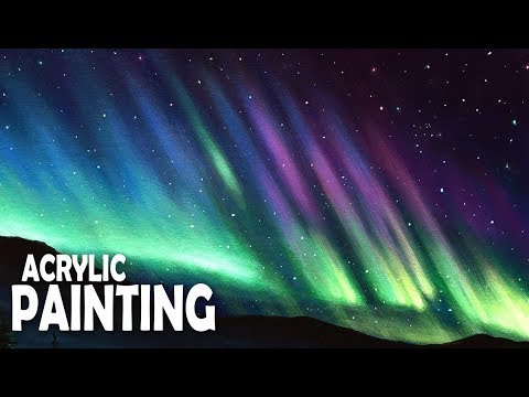 How to Paint a Northern Lights Night Sky | Acrylic Painting