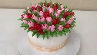 ВЕСЕННИЙ Торт ТЮЛЬПАНЫ из БЕЛКОВОГО Крема Красивый торт
