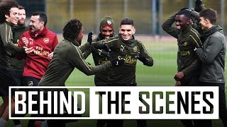 Which team wins football tennis? | Behind the scenes at Arsenal training centre