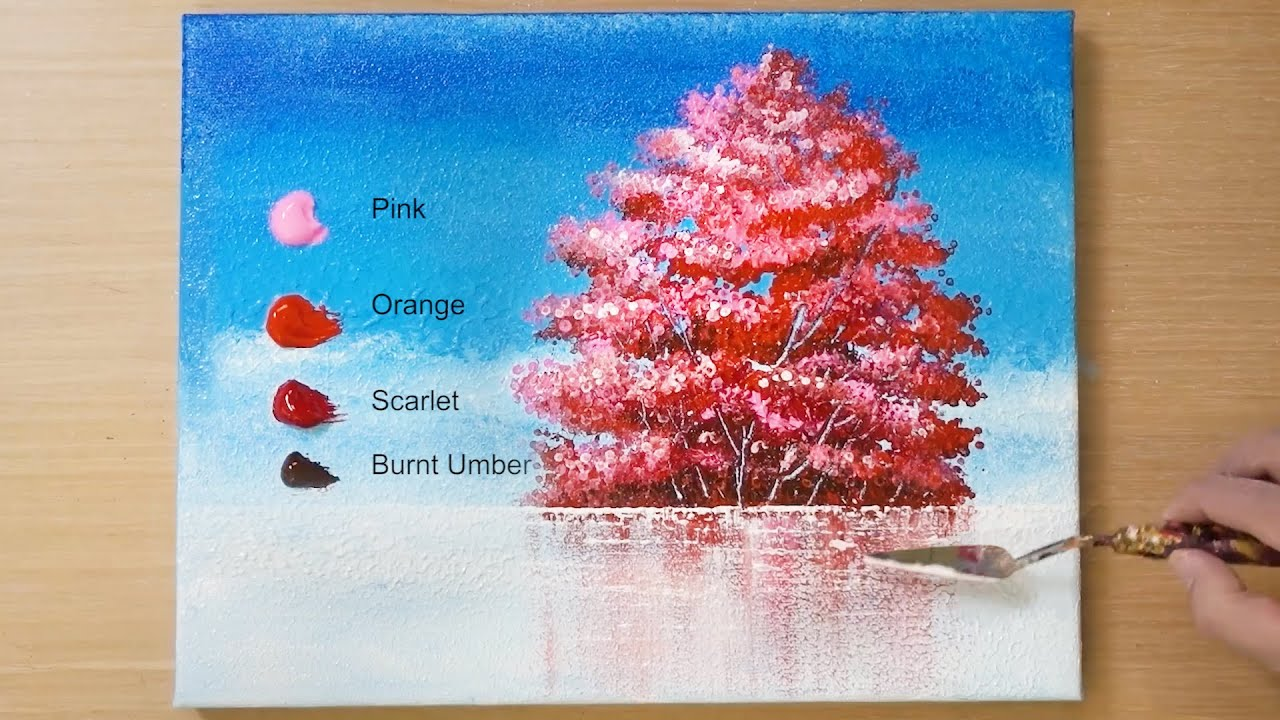 Red Tree Lake Landscape Painting / Acrylic Painting Technique