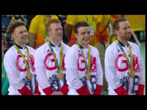 Bradley Wiggins sticks his tongue out during national anthem