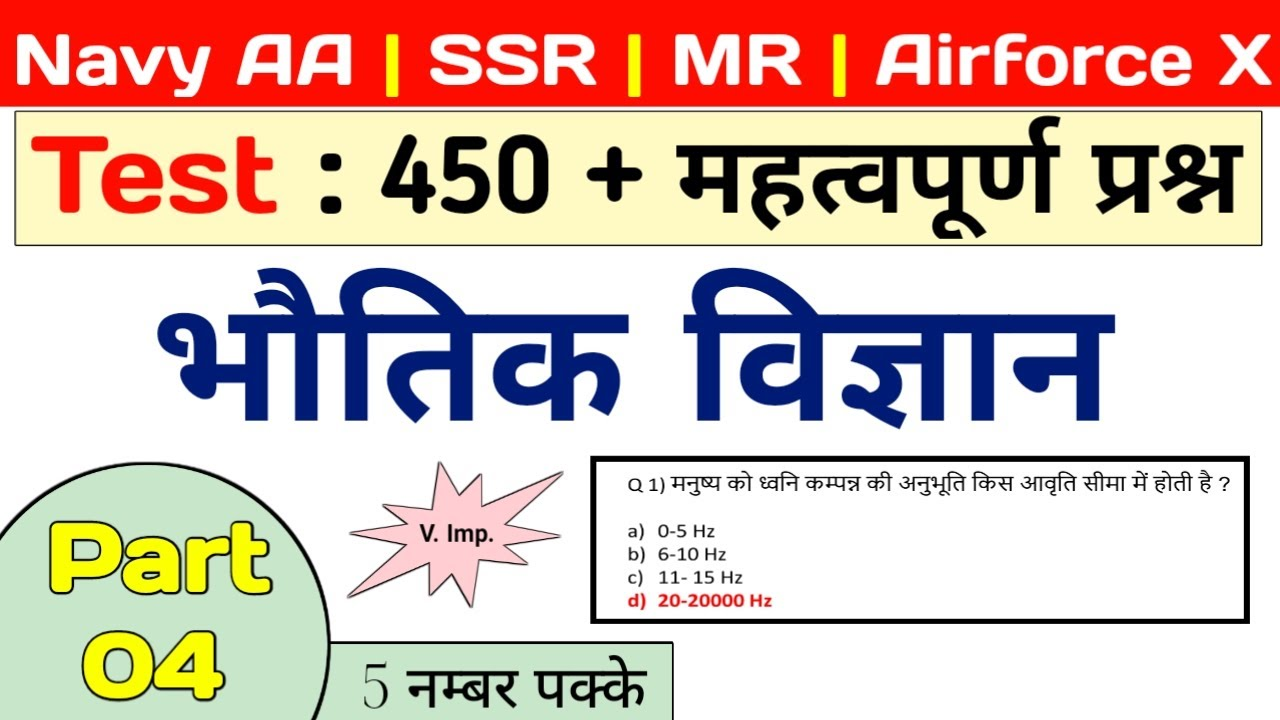 Physics : 450 questions For Navy SSR/AA/MR and Airforce X | Part 4