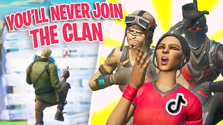 I tried out for a TIKTOK Clan as a FAKE DEFAULT SKIN in Fortnite...
