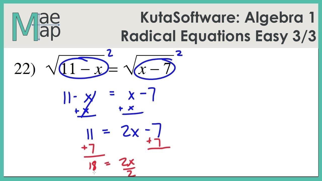 worksheet Algebra 1 Equations kutasoftware algebra 1 radical equations easy part 3 youtube 3
