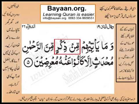 Quran in urdu Surrah 026 Ayat 005 Learn Quran translation in Urdu Easy Quran Learning