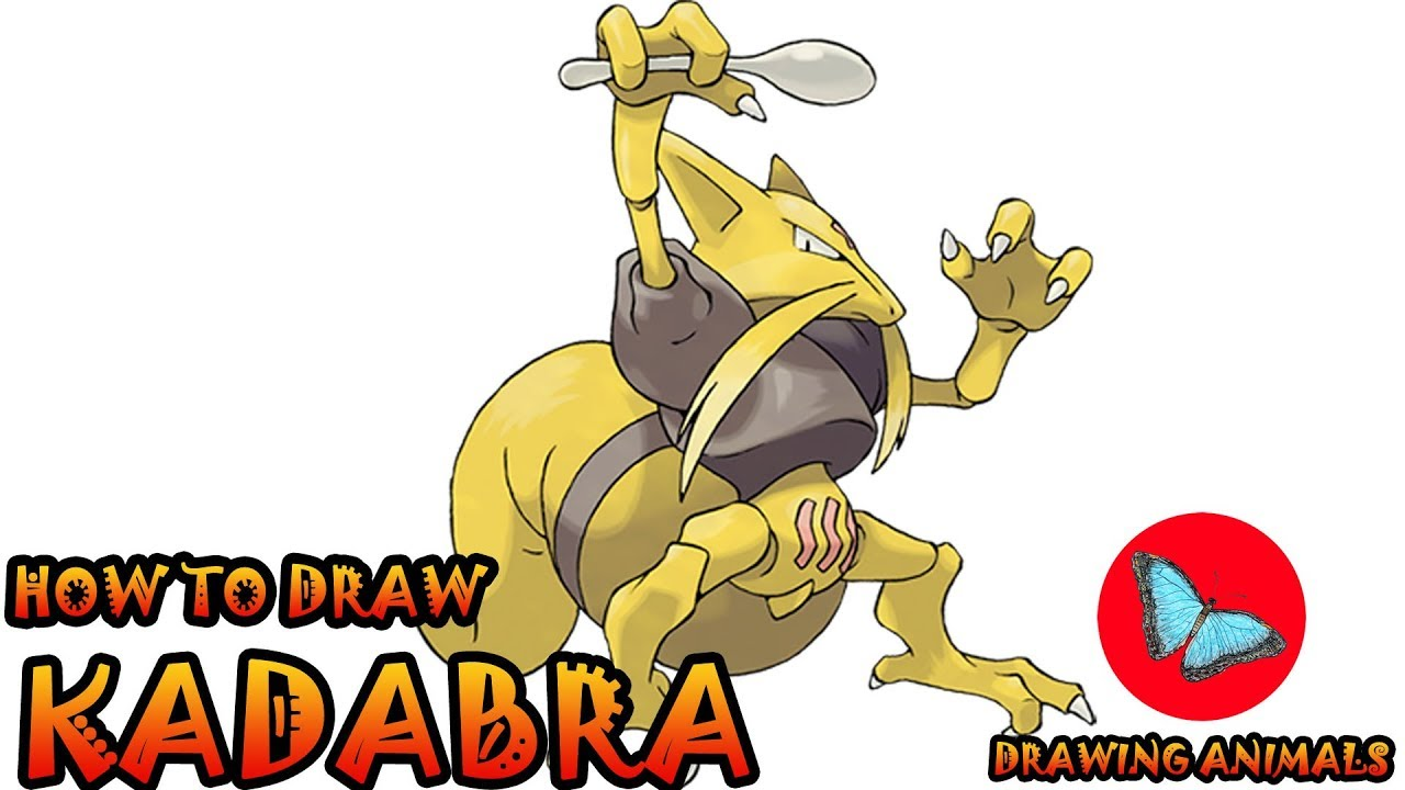 How To Draw Kadabra From Pokemon Drawing Animals Youtube