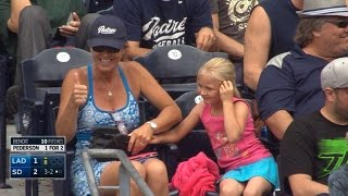 Repeat youtube video Fan collects foul, gifts ball to young girl
